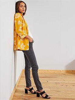 Jean gris fonce femme taille haute