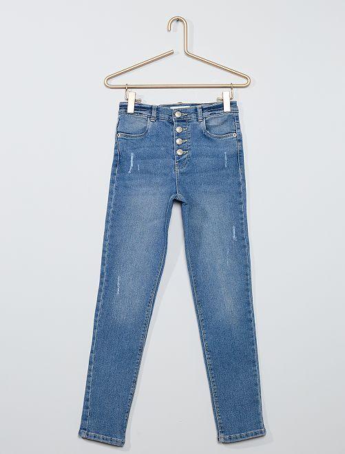 Jean slim taille haute destroy                                                                 bleu