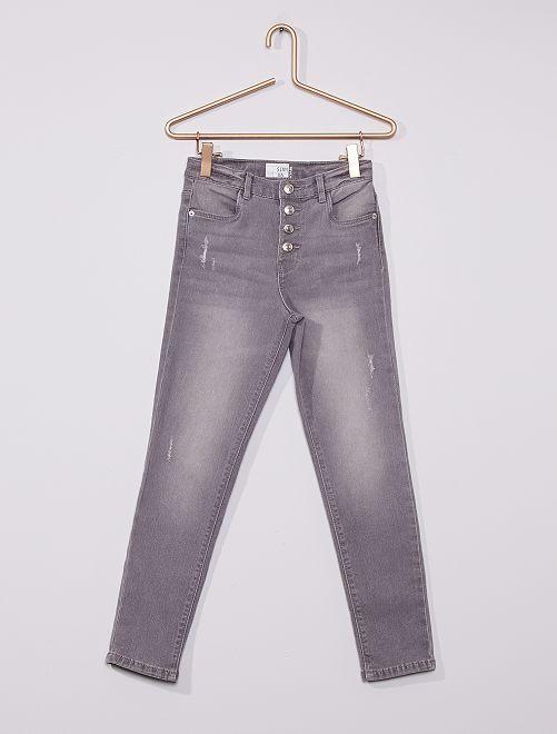 Jean slim taille haute destroy                                                     gris