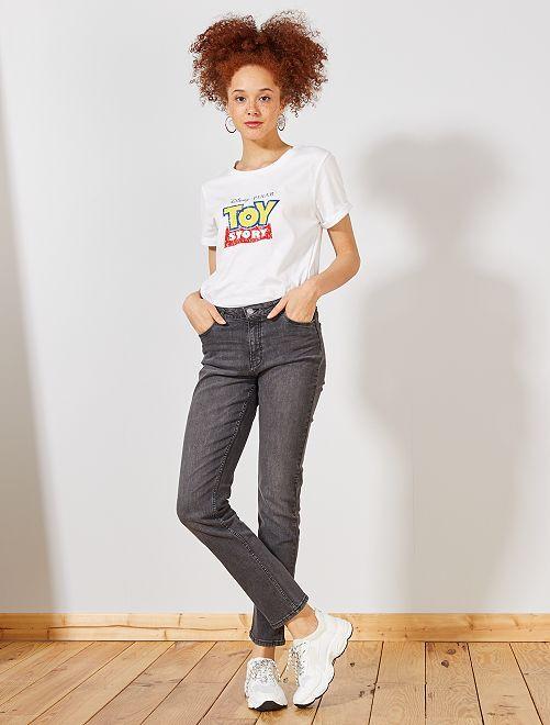 Jean taille haute coupe regular longueur US30                                             gris Femme