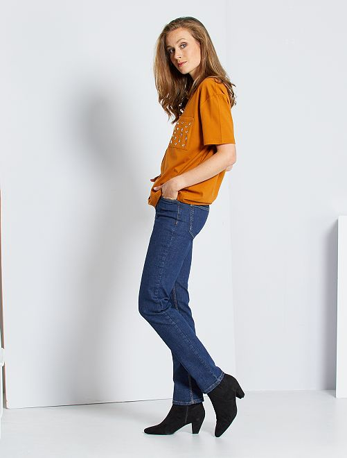 Jean taille haute coupe regular stretch femme brut - Jean coupe droite taille haute femme ...