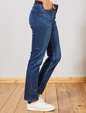Jean taille haute coupe regular stretch femme gris - Jean coupe droite taille haute femme ...