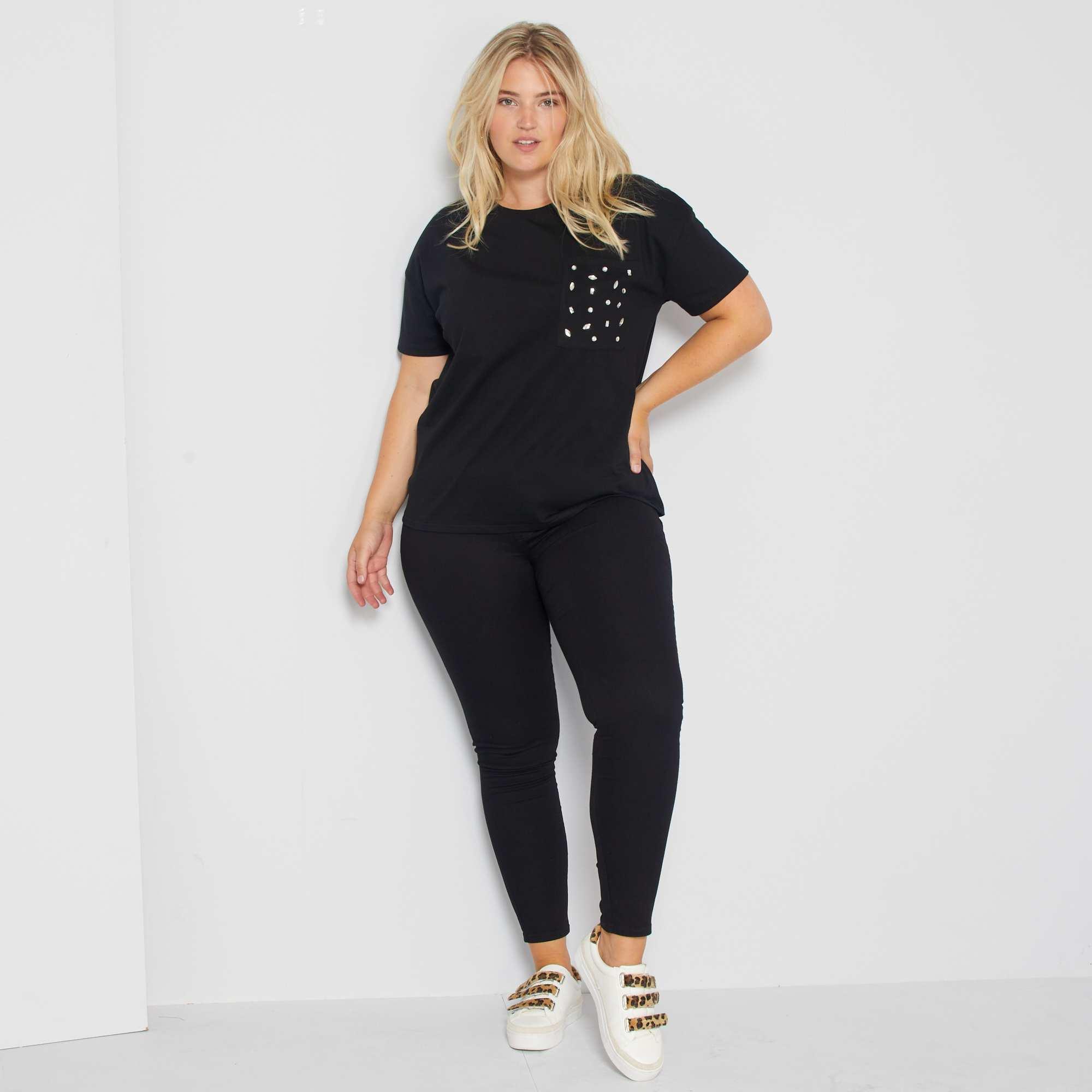 jegging skinny en denim stretch grande taille femme noir kiabi 15 00. Black Bedroom Furniture Sets. Home Design Ideas
