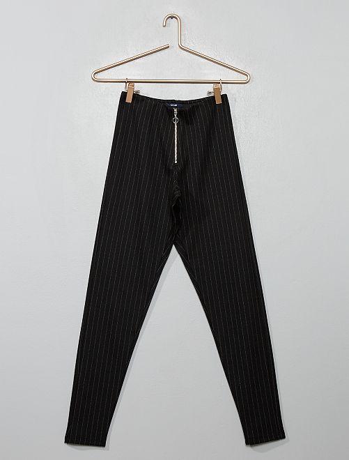 Jegging zippé à rayures                                         noir