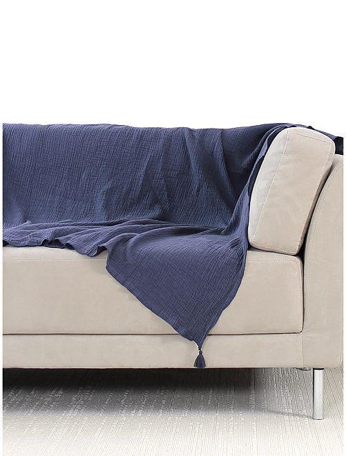 Jeté de canapé en gaze de coton                                         bleu marine