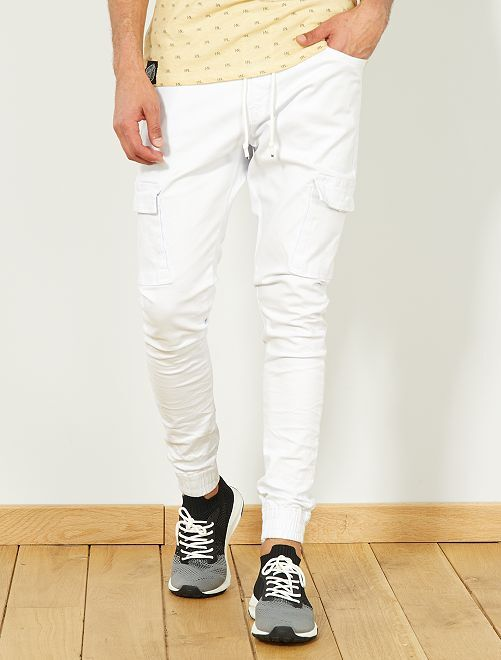 Jogg jean skinny poches battle                             blanc Homme