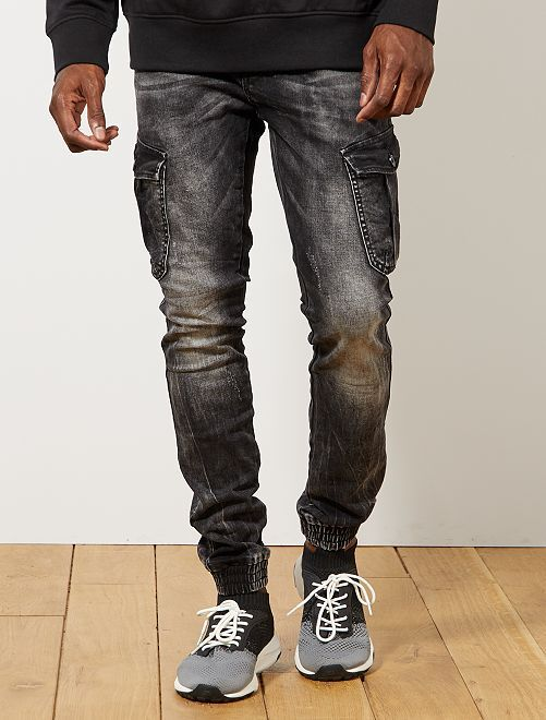 Jogg jean skinny poches battle                             gris