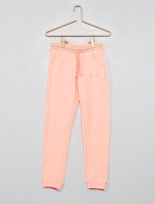 Jogging en molleton imprimé                                                                             rose fluo