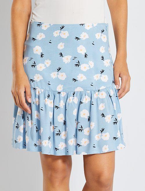 Jupe à volants fleurie                                 bleu fleurs