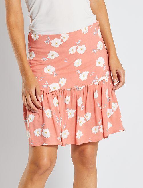 Jupe à volants fleurie                                         rose fleurs