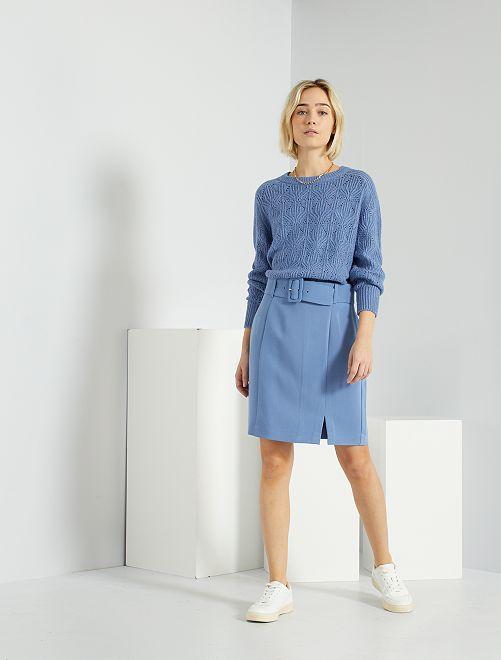 Jupe avec ceinture                                                                 bleu grisé