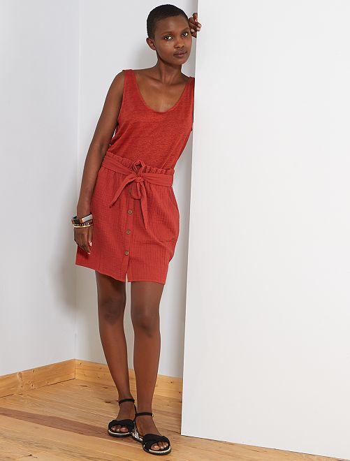 Jupe boutonnée en gaze de coton                             rouge ocre Femme