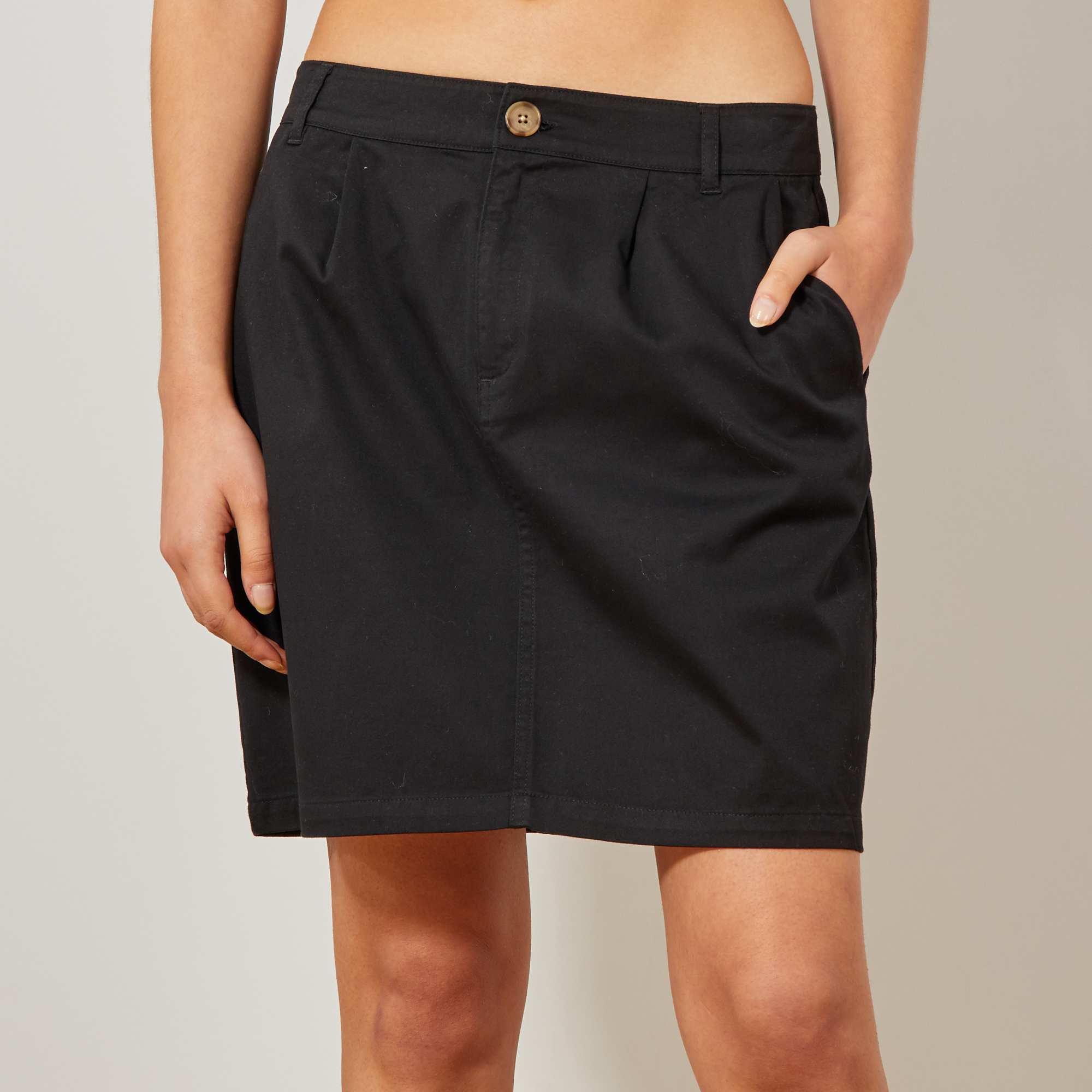 0110303e737 Jupe chino en coton stretch Femme - noir - Kiabi - 12