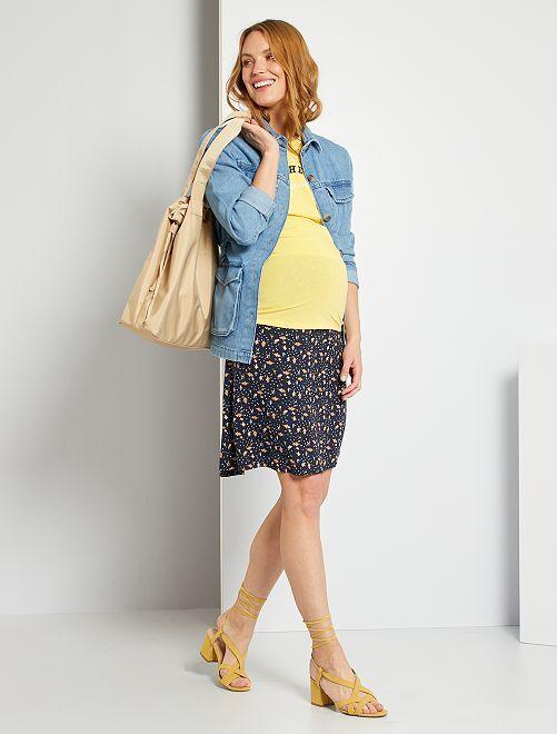 Jupe courte de maternité                                         bleu marine/fleurs