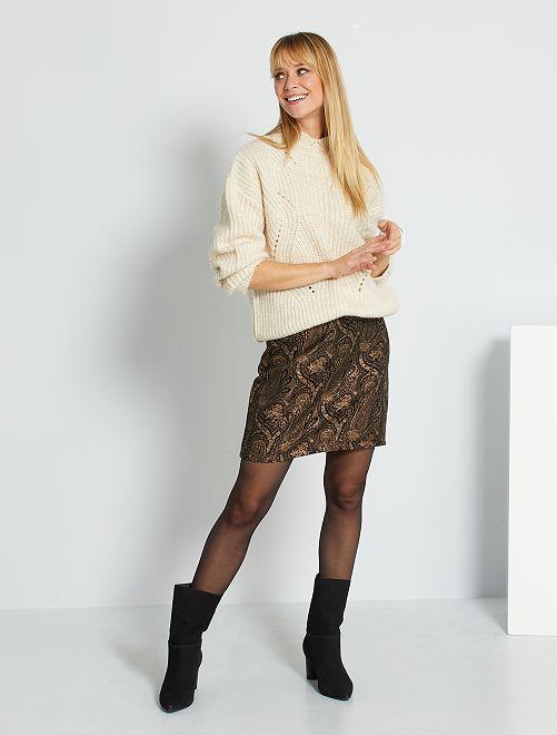 Jupe courte en jacquard                             noir/doré