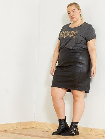 Grande taille femme - Jupe courte en simili - Kiabi