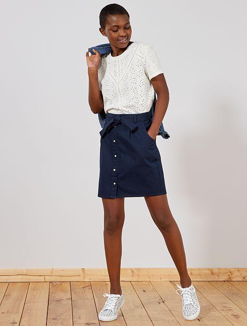 Jupe courte en twill                                 bleu Femme
