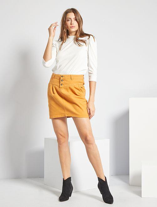 Jupe courte en twill                                                                 jaune