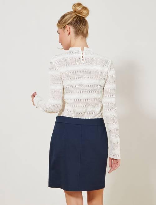 Jupe courte esprit tailleur Femme - bleu marine - Kiabi - 12,00€ b9fa28503ca3