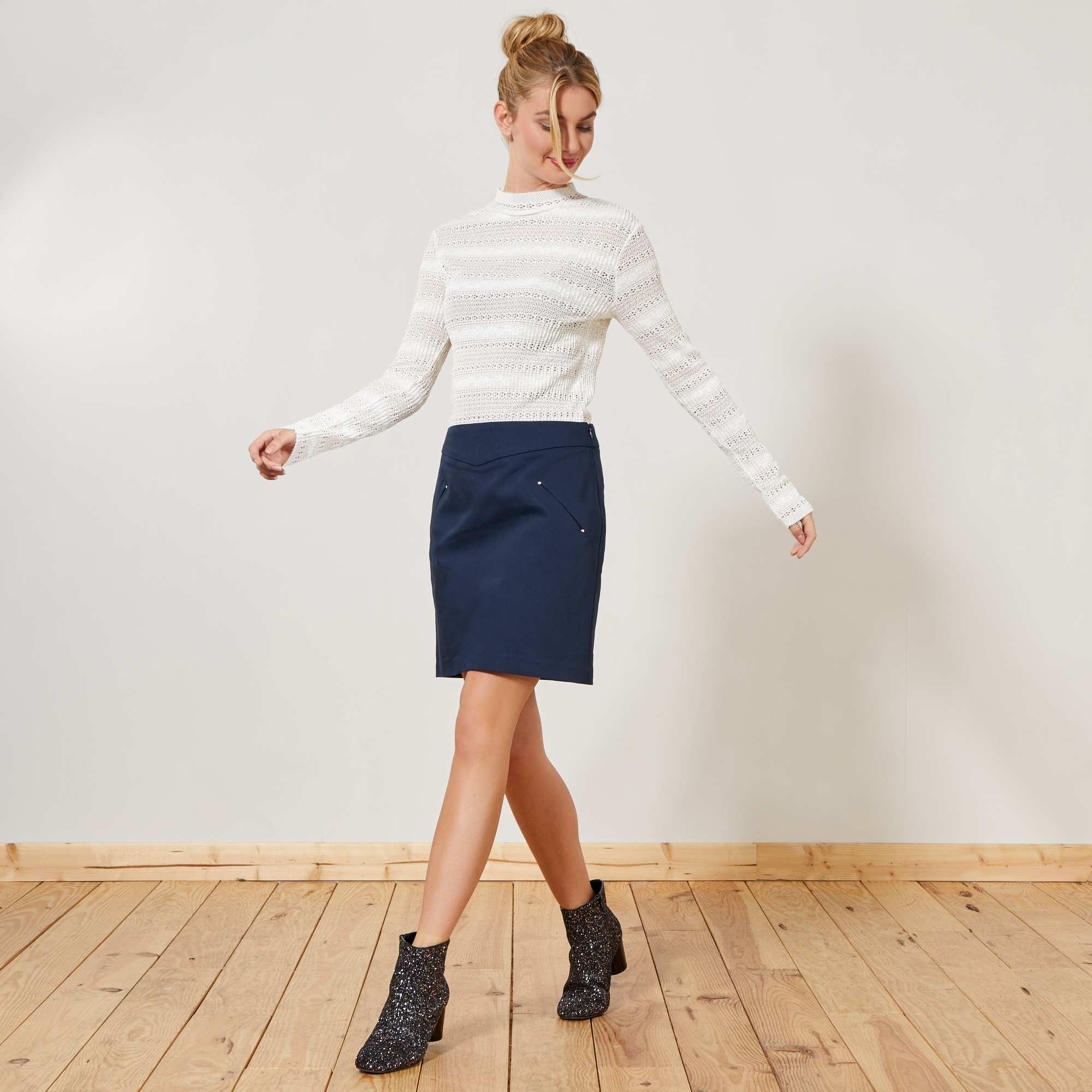 adbf52f067e53 Jupe courte esprit tailleur Femme - bleu marine - Kiabi - 12,00€