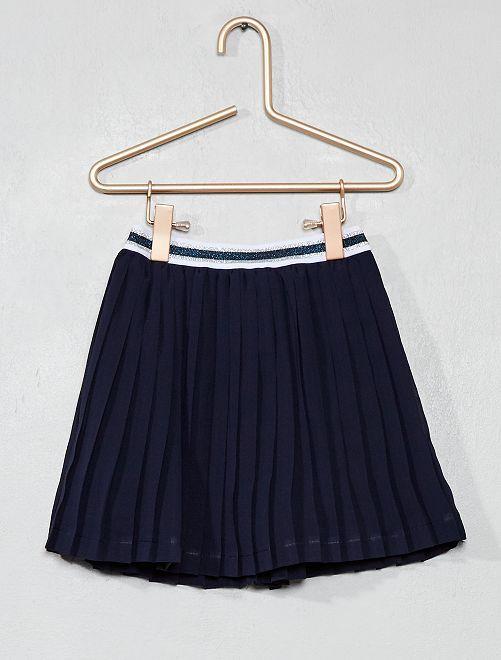 jupe courte pliss e fille bleu marine kiabi 9 00. Black Bedroom Furniture Sets. Home Design Ideas