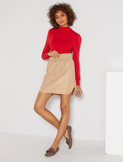 Jupe courte simili                                                     beige