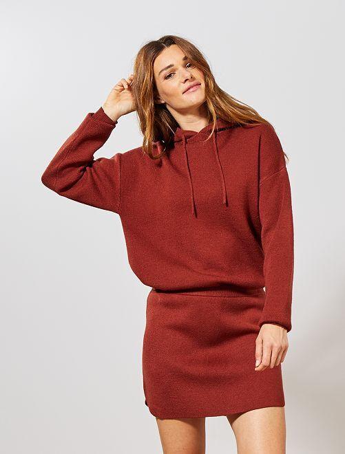 Jupe courte tricot                             rouge brique
