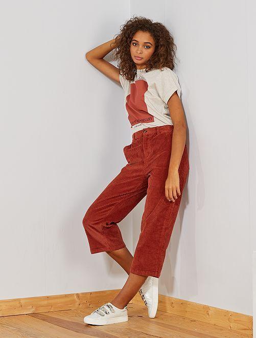 Jupe culotte en velours côtelé                                         rouge brique