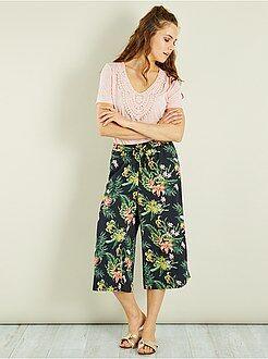 Pantalon - Jupe-culotte fluide fleurie - Kiabi