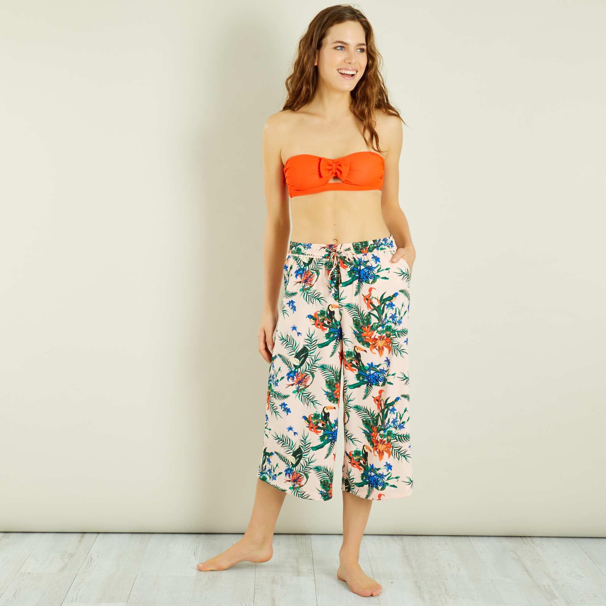 jupe culotte fluide fleurie femme kiabi 18 00. Black Bedroom Furniture Sets. Home Design Ideas
