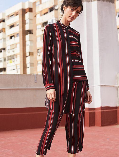 Jupe culotte rayée                             rouge/noir Femme