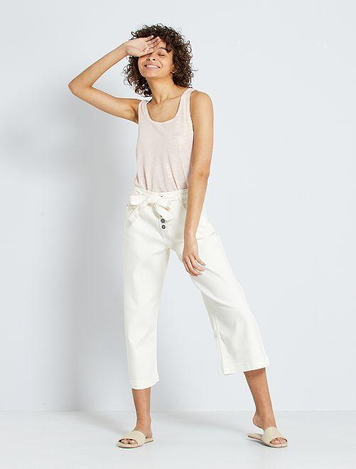 Jupe culotte taille haute                             BLANC