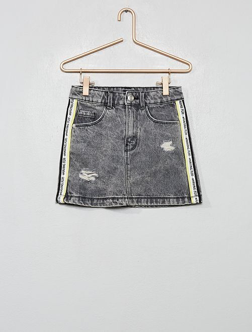 Jupe en denim 'destroy'                                                     gris