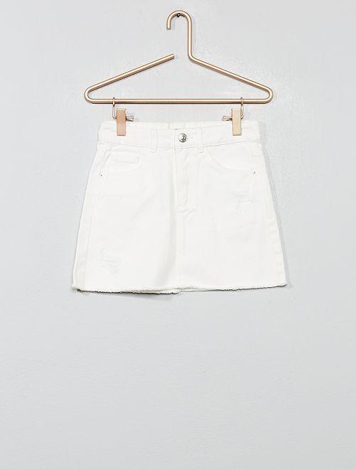Jupe en jean destroy                                                                 blanc Fille