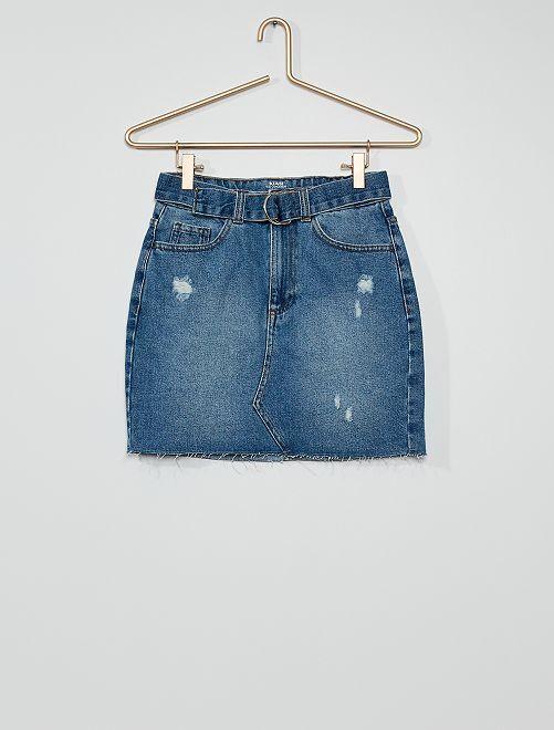 Jupe en jean éco-wash                             bleu