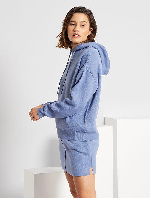 Jupe en maille tricot                                             bleu grisé