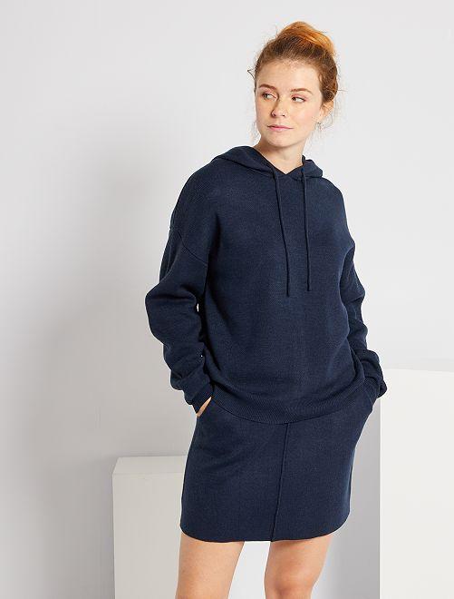 Jupe en maille tricot                                                     bleu marine