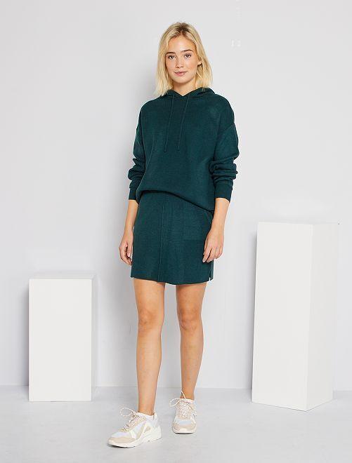 Jupe en maille tricot                                                                 vert foncé