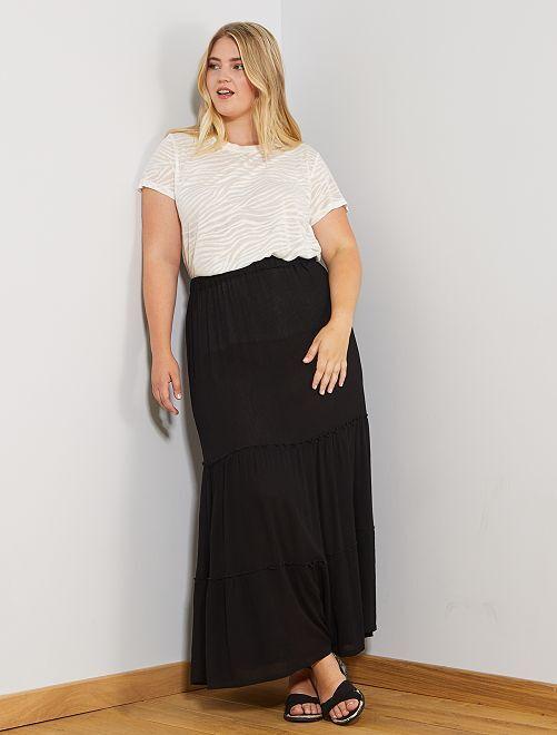 Jupe longue à étages                             noir Grande taille femme