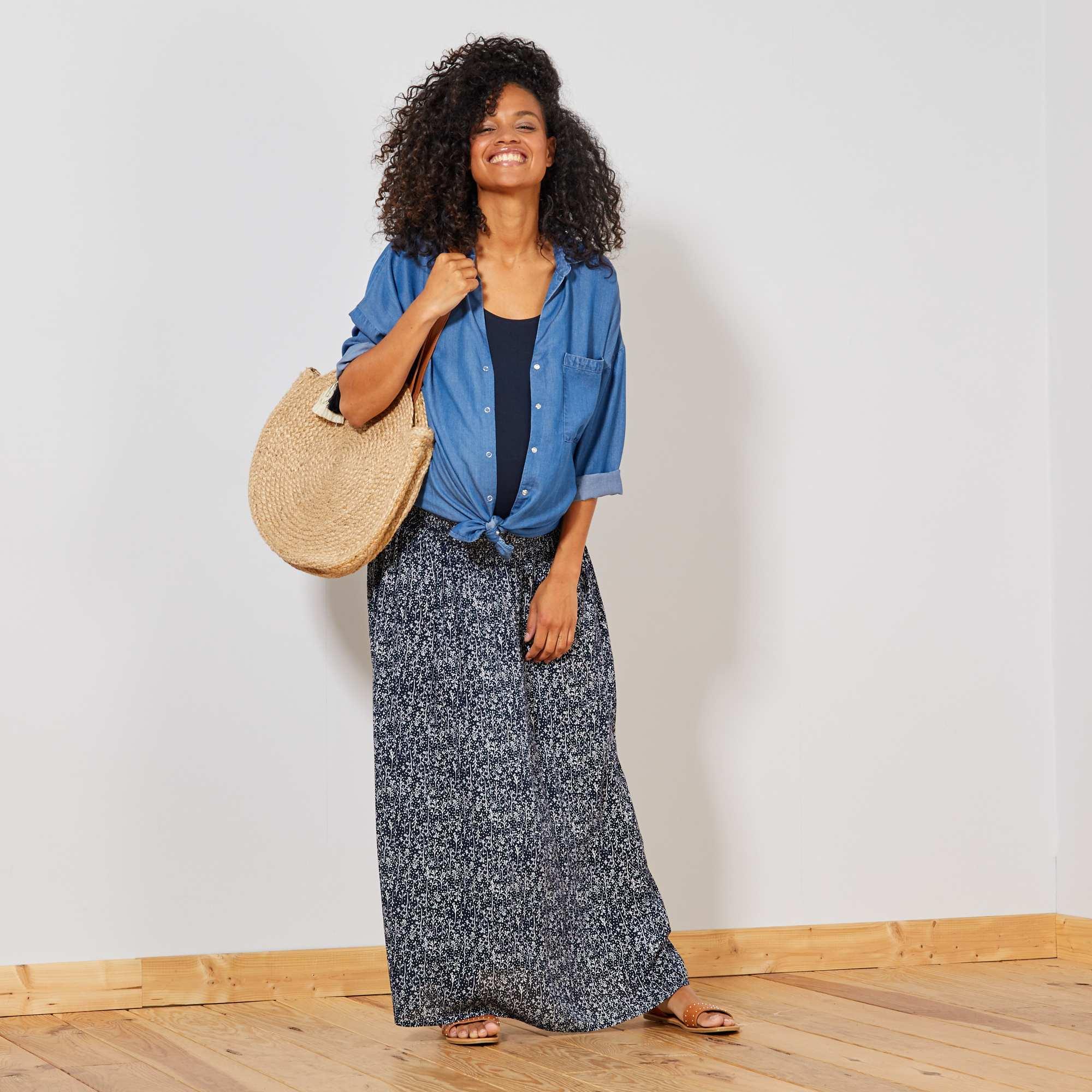 58d37efaa32 Jupe longue de maternité Vêtement de grossesse - bleu - Kiabi - 18
