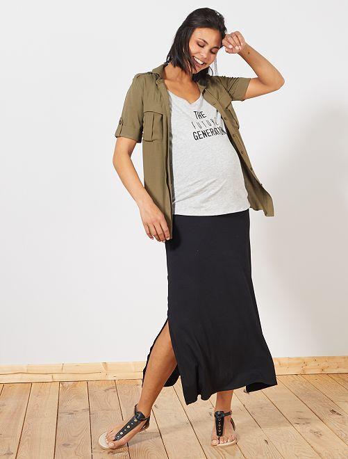 Jupe longue de maternité                             noir Vêtement de grossesse