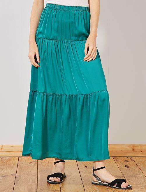 Jupe longue en satin                                                     vert Femme