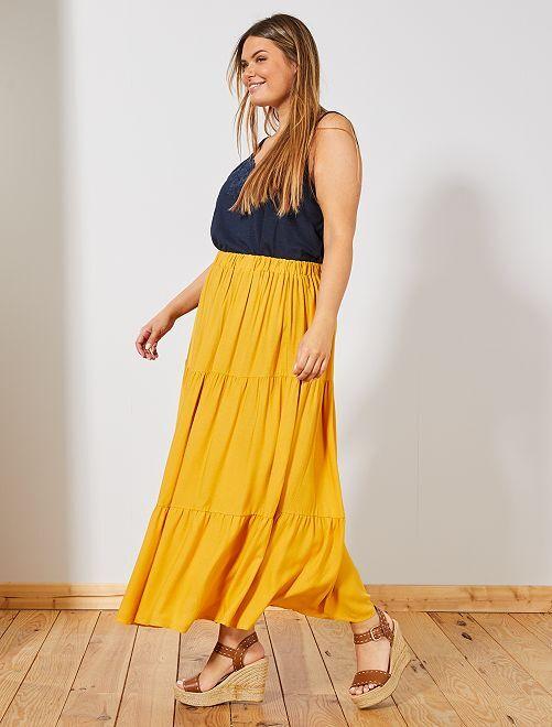 Jupe longue fantaisie                             jaune Grande taille femme