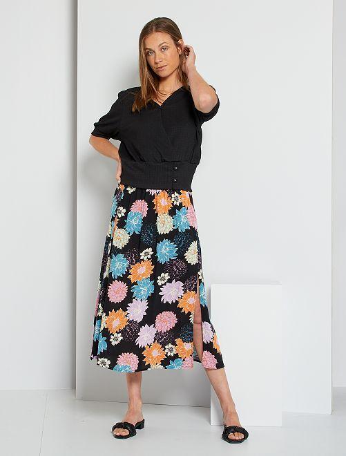 Jupe longue fendue imprimée fleurs  'JDY'                                         noir