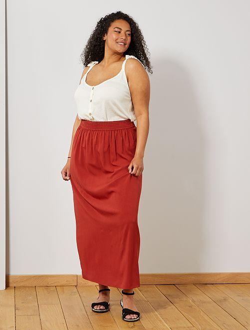 Jupe longue taille élastiquée                             rouge ocre Grande taille femme