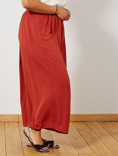 9a7dd199bd9 Jupe longue taille élastiquée Grande taille femme - rouge ocre ...