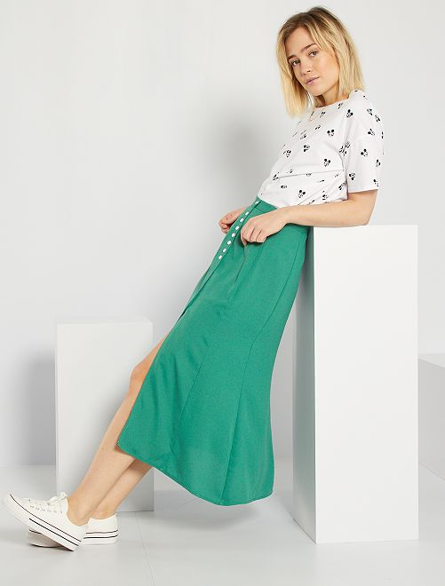 Jupe longue unie                                                     vert pin