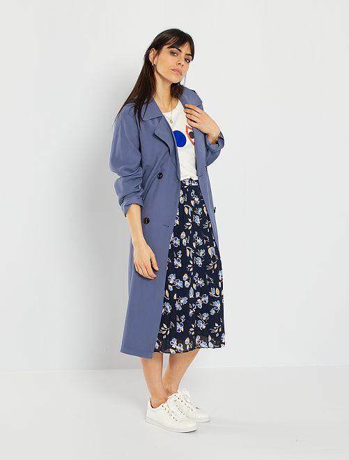 Jupe midi plissée                                                                 bleu fleurs