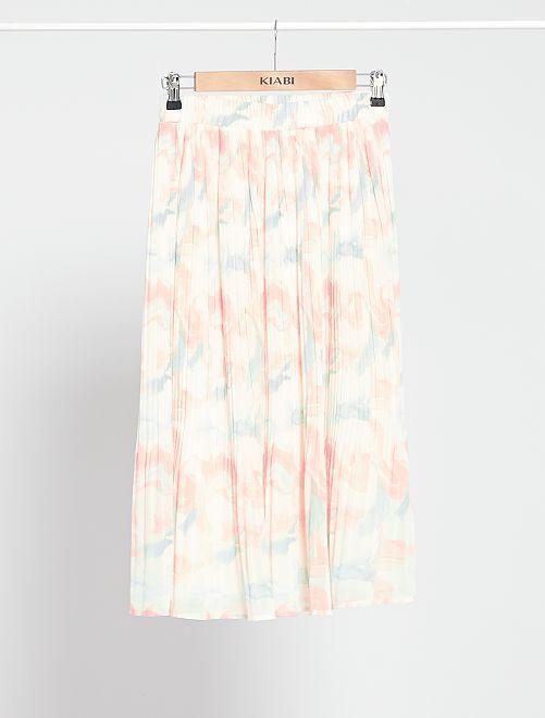 Jupe plissée imprimée                             blanc cassé