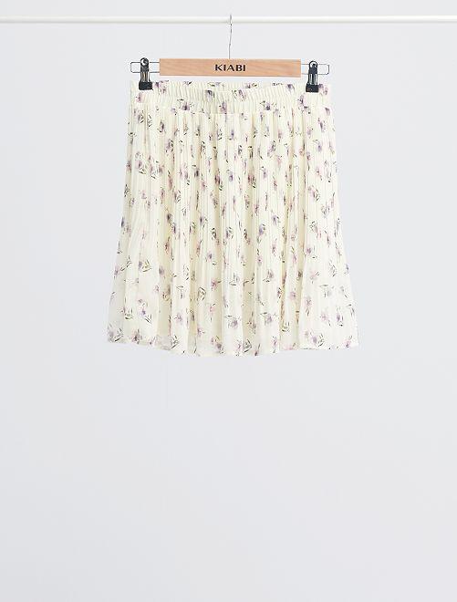 Jupe plissée imprimée 'fleurs'                             écru